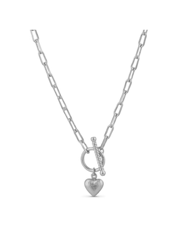 PURE BY NAT - CHAIN NECKLACE W. HEART PENDAN